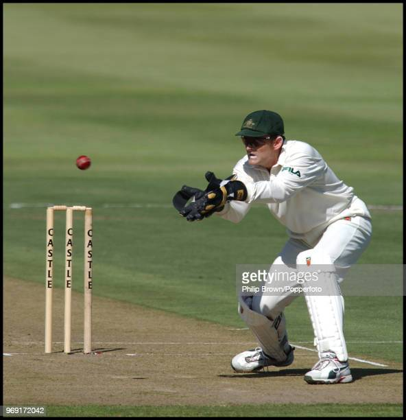 Australia's wicketkeeper Adam Gilchrist prepares to catch the ball during the 2nd Test match between South Africa and Australia at Newlands, Cape...