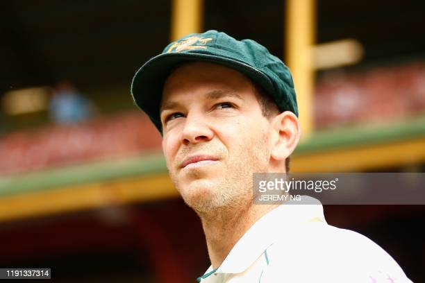 Australia's wicketkeeper and captain Tim Paine looks on during the first day of the third cricket Test match between Australia and New Zealand at the...