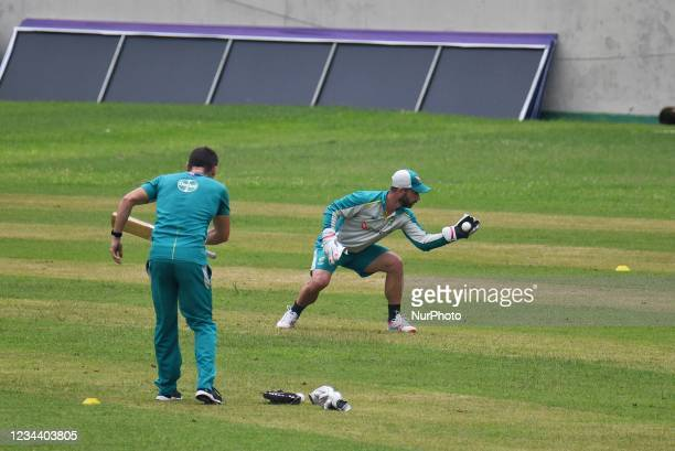 Australia's wicket-keeper Matthew Wade practice during practice session at Sher e Bangla National Cricket Stadium in Dhaka, Bangladesh on August 2,...