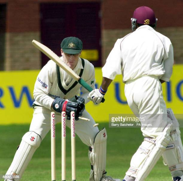 Australia's wicketkeeper Wade Seccombe stumps Somerset's guest player Shoaib Akhtar during the tour match at Taunton Somerset