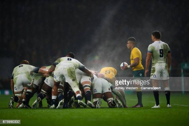 Australia's Will Genia prepares to feed the scrum during the Old Mutual Wealth Series Autumn International match between England and Australia at...
