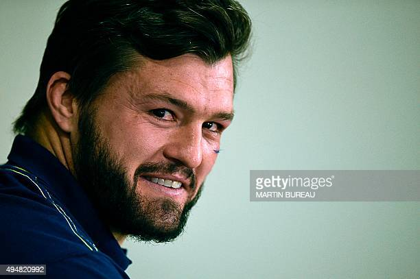 Australia's wing Adam AshleyCooper gives a press conference on October 29 in Teddington southwest London two days prior to their 2015 Rugby Union...