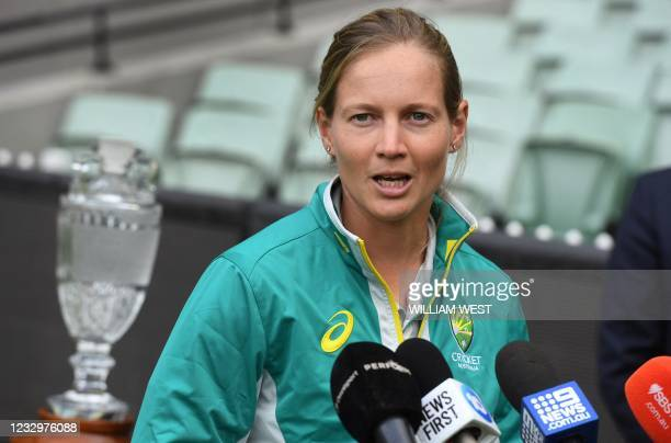 Australia's women's captain Meg Lanning speaks during a press conference after an announcement of the upcoming men's and women's Ashes series against...