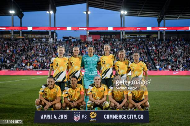 Australia's women's national team poses for a photo before taking on the United States at Dick's Sporting Goods Park on April 4 2019 in Commerce City...