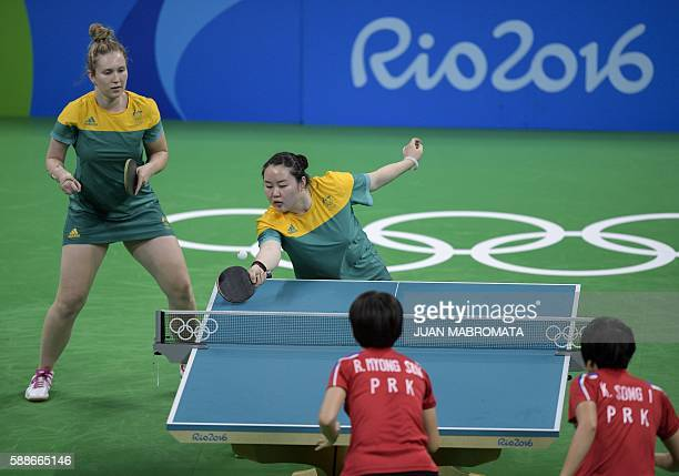 Australia's Zhang Ziyu hits a shot next to teammate Australia's Melissa Tapper in the women's team qualification round table tennis match against...