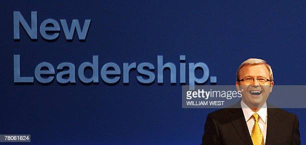 Australia-vote-Rudd,PROFILE by Neil Sands This file photo dated 14 November, 2007 shows the leader of the opposition Labor Party, Kevin Rudd, as he...