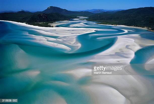 australia,whitsunday island, whitehaven beach,aerial view - whitehaven beach stock photos and pictures