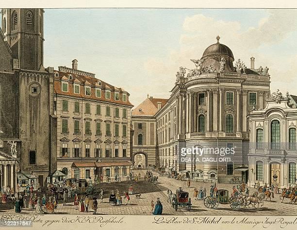 Austria 18th century Vienna Michaelerplatz and Burgtheater Print