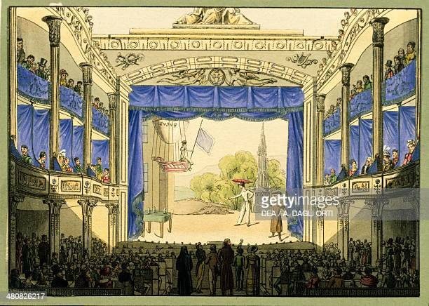 Austria 18th century Vienna Theatre in der Josefstadt during a performance Color engraving by Tranquillo Mollo