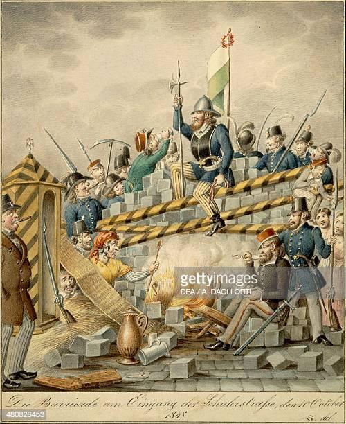 Austria 19th century Johann Christian Schoeller Die Barricade am Eingang der Schulerstrasse den 10 October 1848 Satire depicting barricades at Vienna...