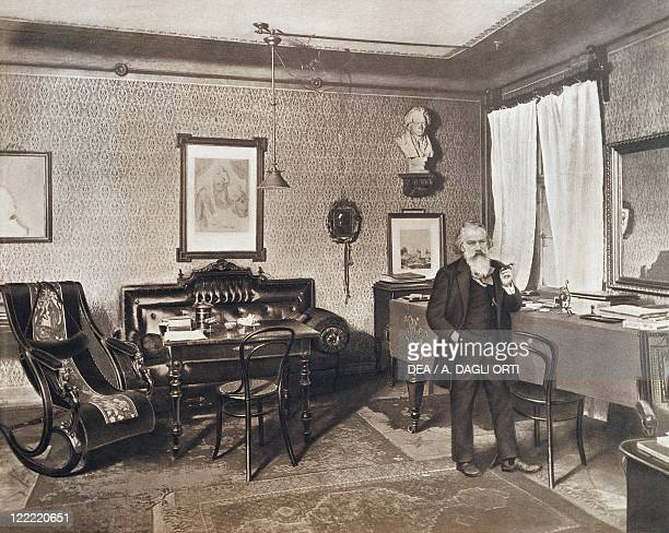Austria 19th century Johannes Brahms German composer pianist and conductor in his house in Karlgasse Vienna