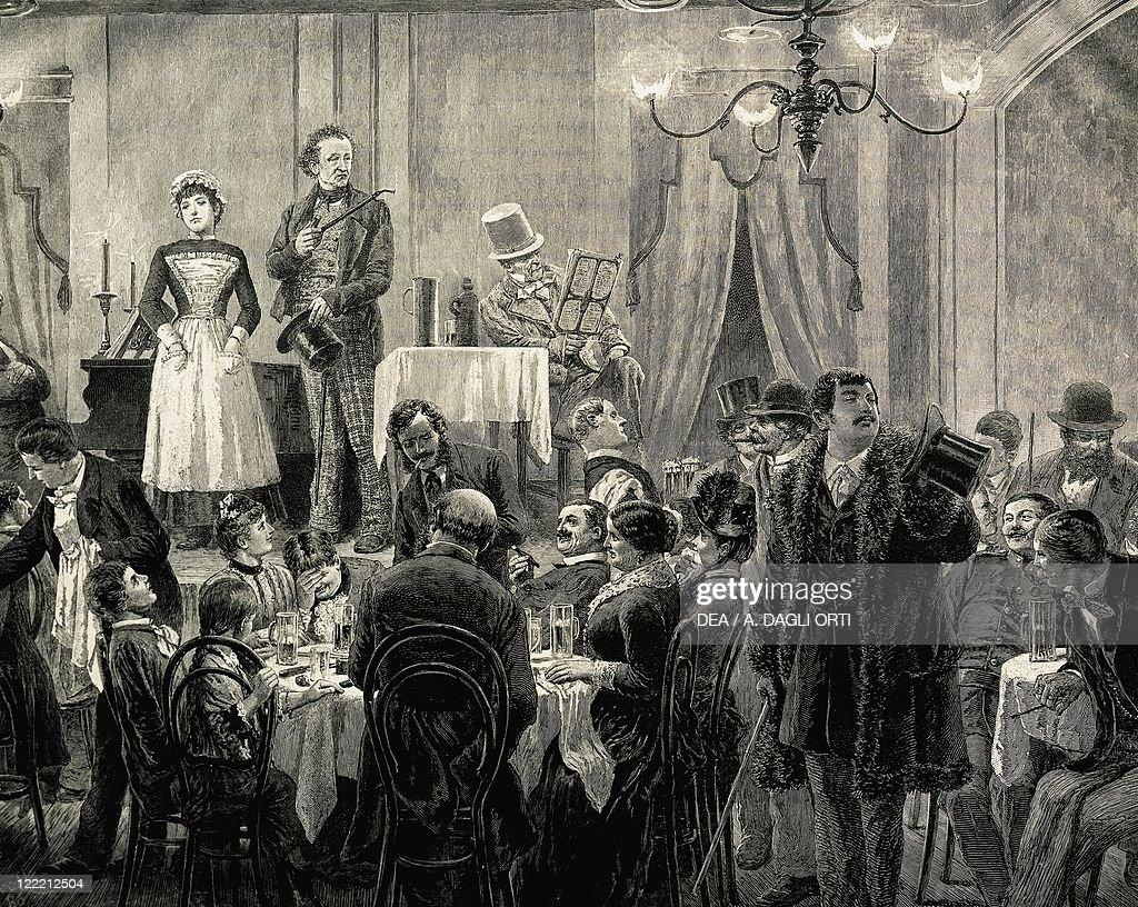 Austria, Vienna, Musical soiree at a cafe-chantant, engraving : News Photo