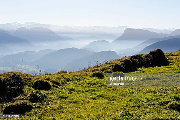 Austria, Alto Adige, View from Kranzhorn mountain to Inn Valley with Pendling and Zillertal mountains