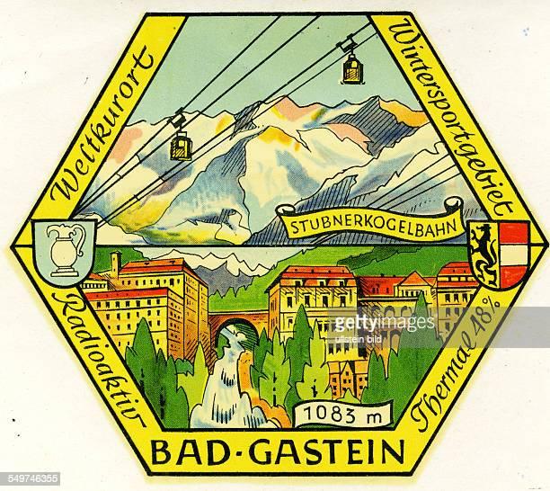 Austria Bad GasteinAlter historischer Kofferaufkleber aus den fuenfziger Jahren