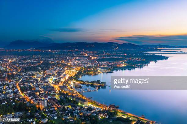 austria, bregenz and lake constance at sunset - vorarlberg stock-fotos und bilder