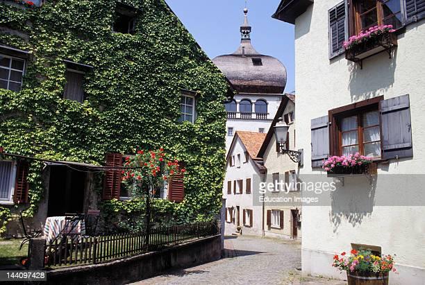 Austria, Bregenz, Upper Town, Street Scene With St, Martin'S Tower In Background.
