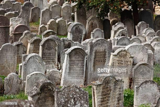 austria, burgenland, eisenstadt, view of jewish grave yard - grab stock-fotos und bilder