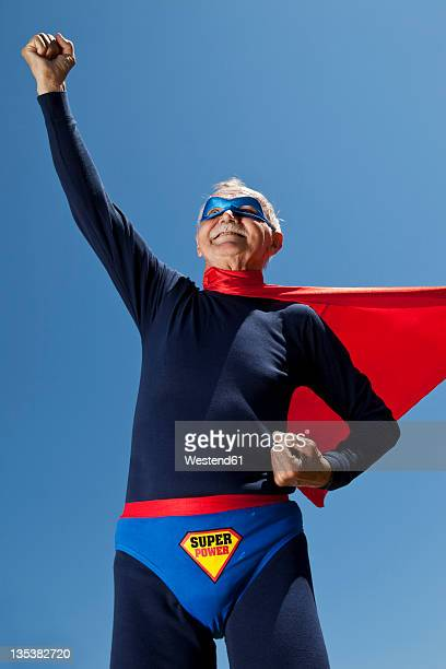 Austria, Burgenland, Senior man in superman's costume