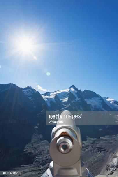 Austria, Carinthia, High Tauern National Park, Grossglockner peak, Pasterze glacier and Johannisberg, telescope