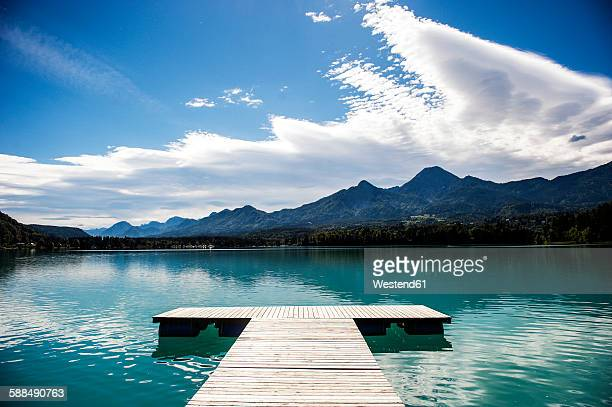 austria, carinthia, jetty at lake faak - carinthia stock pictures, royalty-free photos & images