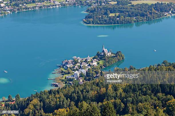 austria, carinthia, view to maria woerth at lake woerthersee - carinthia stock pictures, royalty-free photos & images
