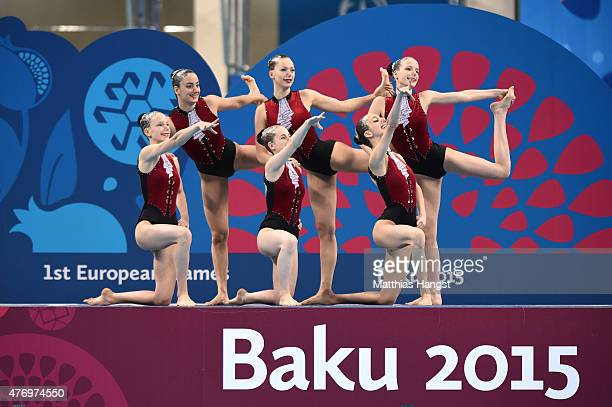 Austria compete in the Synchronised Swimming Free Combination quailification during day one of the Baku 2015 European Games at Baku Aquatics Centre...