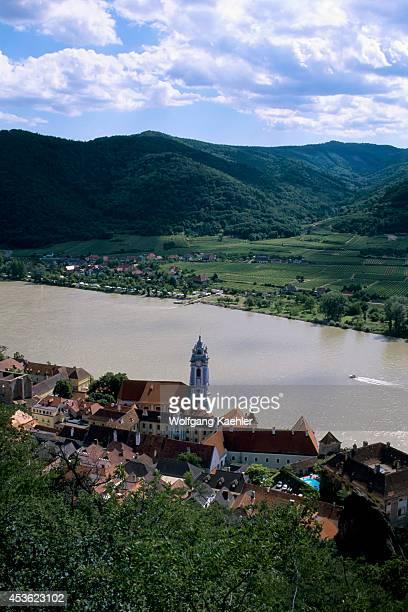 Austria Danube River Wachau Valley Durnstein View From Castle Kuenringerburg