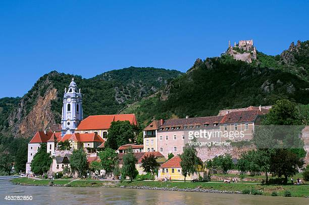 Austria Danube River Wachau Valley Durnstein View Of Church And Castle Kuenringerburg