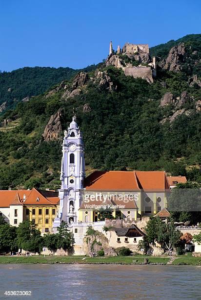 Austria Danube River Wachau Valley Durnstein View Of Village And Castle Kuenringerburg