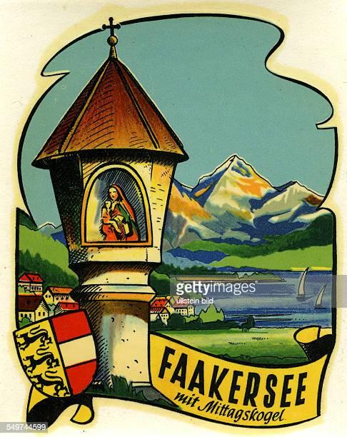 Austria Faakersee faaker See mit MittagskogelAlter historischer Kofferaufkleber aus den fuenfziger Jahren