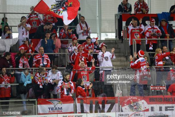 Austria fans during the Austria v Denmark - Ice Hockey International Friendly at Erste Bank Arena on May 5, 2019 in Vienna, Austria.