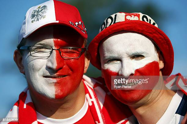 Austria fans show their support ahead of the UEFA EURO 2008 Group B match between Austria and Poland at Ernst Happel Stadion on June 12, 2008 in...