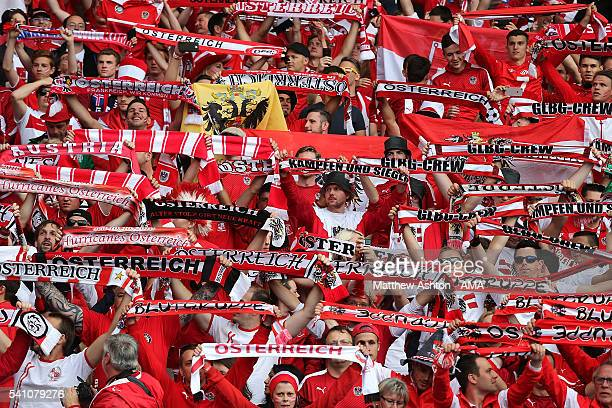 Austria fans show their support prior to the UEFA EURO 2016 Group F match between Portugal and Austria at Parc des Princes on June 18, 2016 in Paris,...