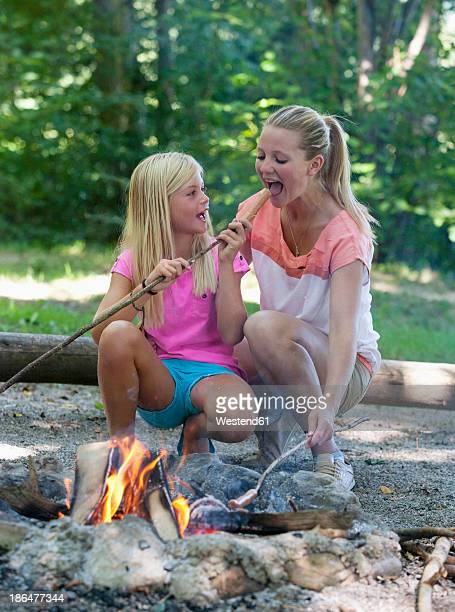 austria, friends preparing barbecue on camp fire - snag tree stock pictures, royalty-free photos & images
