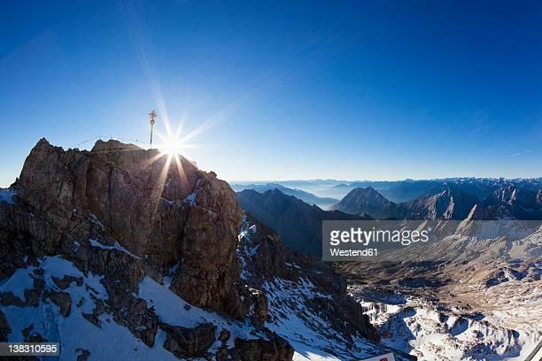 Austria, Germany, Bavaria, Wetterstein Range, View from the Zugspitze platform over alps at sunrise