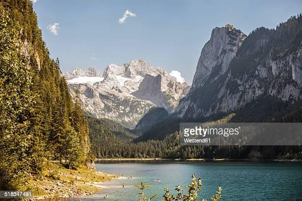 Austria, Gosau, mountain lake and glacier