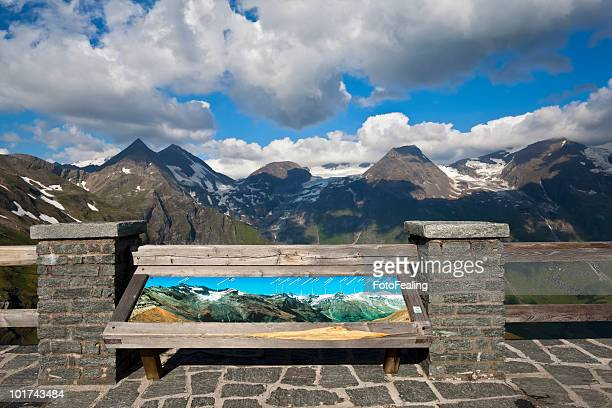Austria, Grossglockner, Information board, Mountain scenery in background