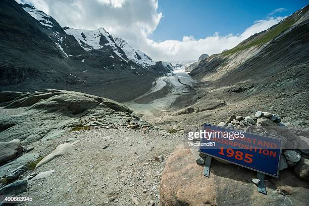 Austria, Grossglockner, Mount Johannisberg, Pasterze Glacier, sign, glacier level
