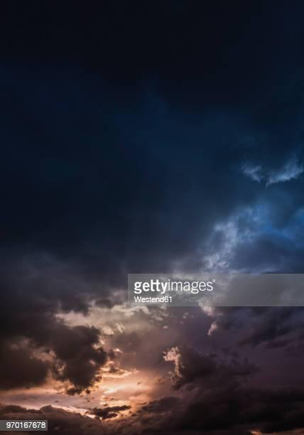 Austria, Hoersching, dark clouds after thunderstorm