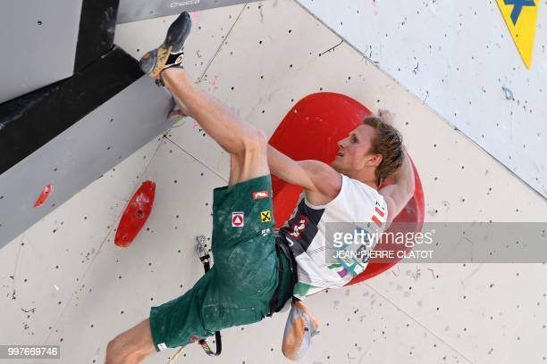 Austria Jakob Schubert men's world number 4 climbs during the semifinal of 2018 International Federation of Sport Climbing Climbing World Cup in...
