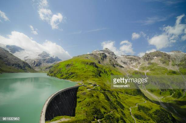 austria, kaprun, mooserboden dam with drossensperre dam wall - reservoir stock pictures, royalty-free photos & images