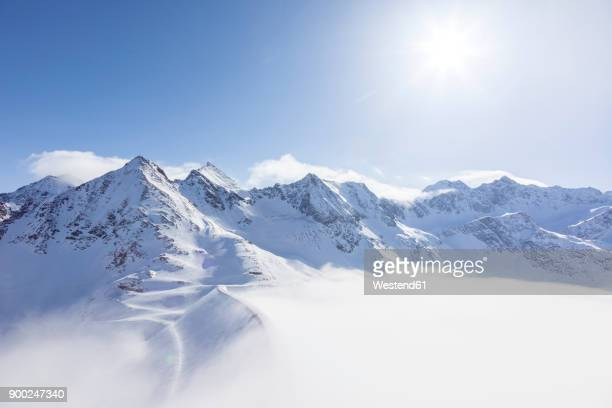 austria, kuehtai, mountainscape in winter - mountain range stock pictures, royalty-free photos & images