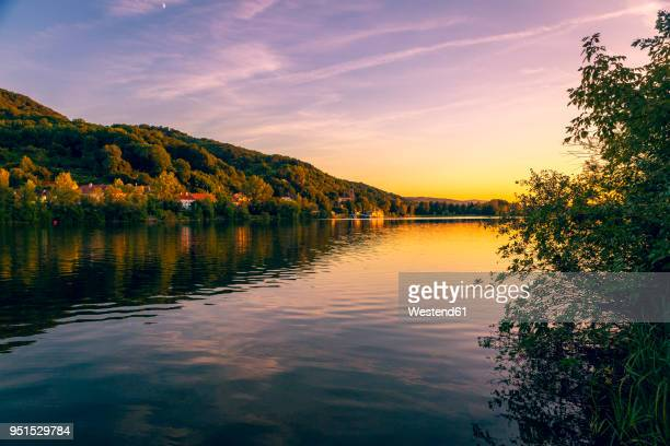 austria, lower austria, st. andrae-woerdern, greifenstein and danube river at sunset - danube river stock pictures, royalty-free photos & images