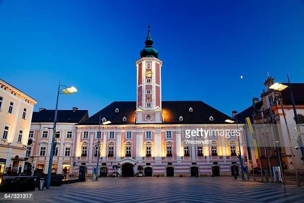 austria, lower austria, st. poelten, townhall square and townhall in the evening - sankt poelten stock pictures, royalty-free photos & images