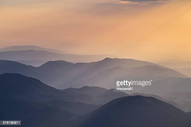 Austria, Lower Austria, Vienna Alps, View from Schneeberg to Puchberg am Schneeberg at sunrise