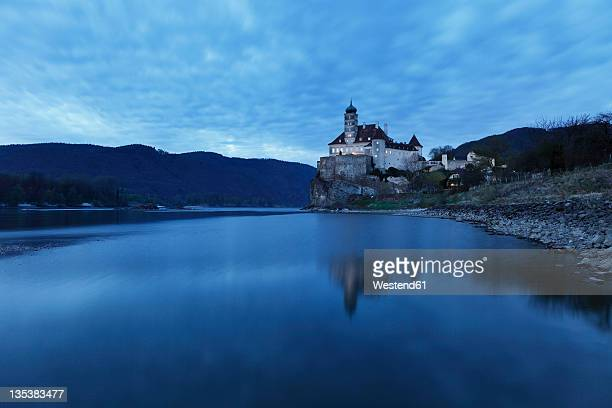 Austria, Lower Austria, Wachau, View of Schoenbuehel castle near Danube river at disk