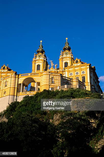 Austria Melk Danube River View Of Abbey On Hill