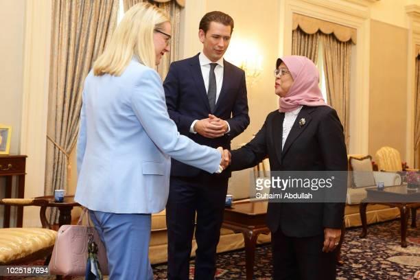 Austria Minister of Digitalisation and Economics Margarete Schrambock meets with Singapore President Halimah Yacob as Austrian Chancellor Sebastian...