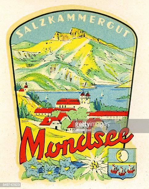 Austria MondseeAlter historischer Kofferaufkleber aus den fuenfziger Jahren