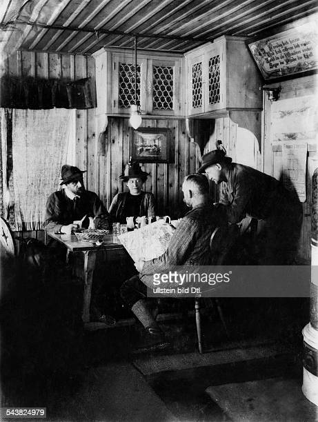 Austria Oetztaler Alpen 'Brandenburger Haus' at the 'Kesselwandjoch' ancient inn mountaineer preparing for a tour 1914 Photographer Waldemar...